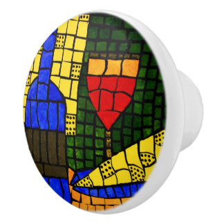 Modern Abstract Wine And Cheese Bright Colors Ceramic Knob