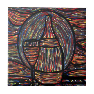 Modern Abstract Wine Bottle And Glass Ceramic Tile