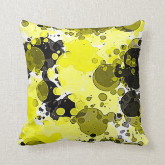 Modern Abstract Yellow and Black Paint Splatter Cushion