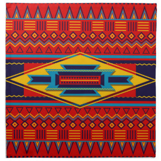 Modern African Art Gods Eye Pattern Red Yellow Napkin