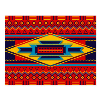 Modern African Art Gods Eye Pattern Red Yellow Postcard