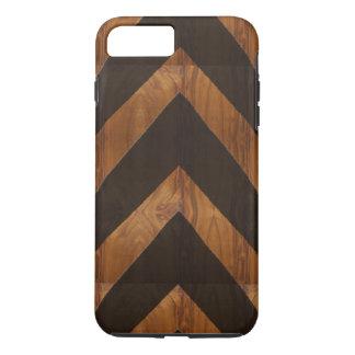 Modern African black arrows brown wood grain look iPhone 7 Plus Case