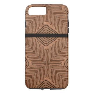 Modern African Tribal Print Brown Leather Looking iPhone 7 Plus Case