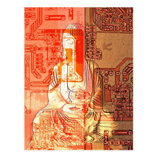 Modern age electronic Buddha Postcard