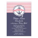 Modern Anchor Nautical Sailboat Girl Baby Shower 13 Cm X 18 Cm Invitation Card