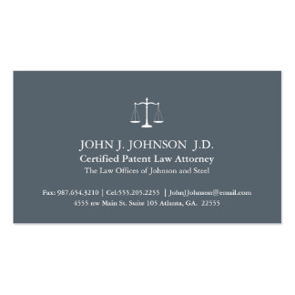Modern and Minimal Slate Grey Attorney Pack Of Standard Business Cards