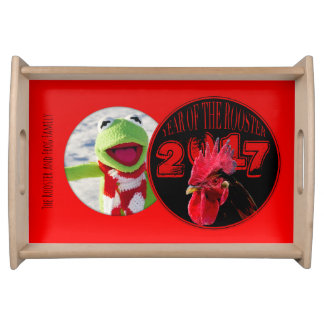 Modern and Rustic Rooster Year photo frame Serving Serving Tray