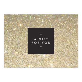 MODERN and SIMPLE BLACK BOX GOLD GLITTER Gift Cert Card