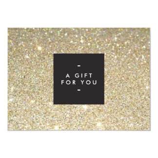 MODERN and SIMPLE BLACK BOX GOLD GLITTER Gift Cert 11 Cm X 16 Cm Invitation Card