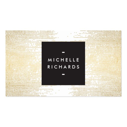 MODERN and SIMPLE BLACK BOX on GOLD DOT PATTERN Business Cards