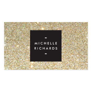 MODERN and SIMPLE BLACK BOX on GOLD GLITTER Pack Of Standard Business Cards