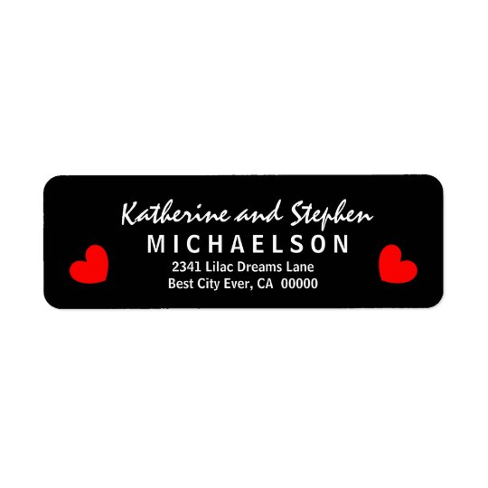 Modern and Simple Style with Hearts S304d Return Address Label