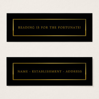 Modern and Sleek, Black and Gold Bookmark Mini Business Card