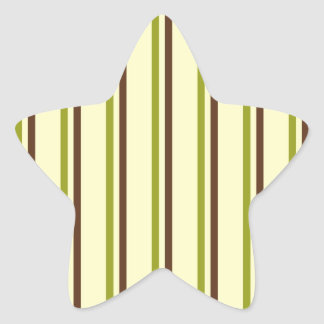 Modern and Trendy Green Brown and Creme Stripes Star Stickers