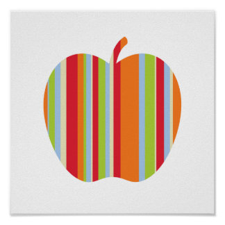 Modern Apple with Red and Orange Stripes Poster