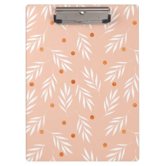 Modern Apricot Pink Floral Leaves Pattern Clipboard