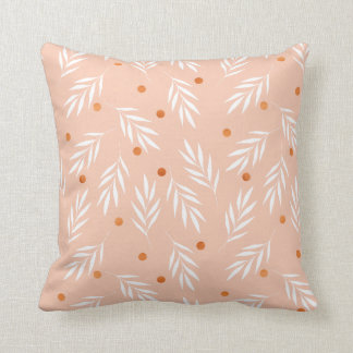 Modern Apricot Pink Floral Leaves Pattern Cushion