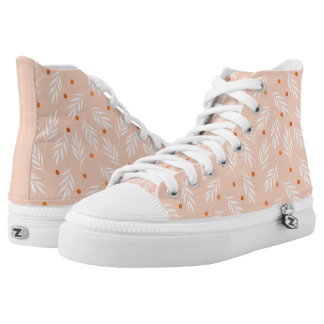 Modern Apricot Pink Floral Leaves Pattern High Tops