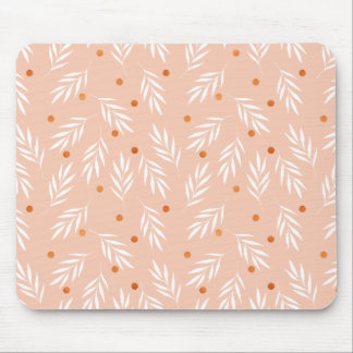 Modern Apricot Pink Floral Leaves Pattern Mouse Pad