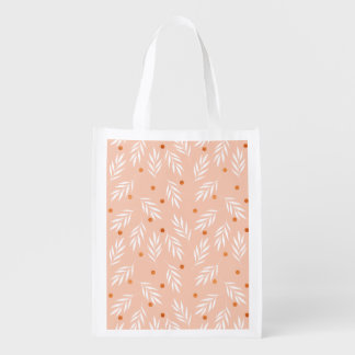 Modern Apricot Pink Floral Leaves Pattern Reusable Grocery Bag