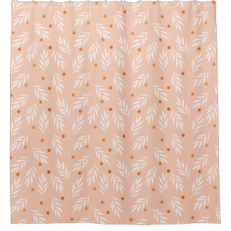 Modern Apricot Pink Floral Leaves Pattern Shower Curtain