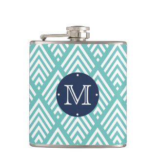 Modern Aqua and Navy Chevron Diamond Monogram Hip Flask