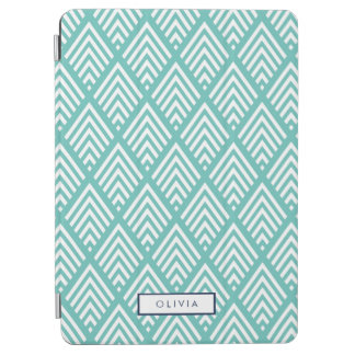 Modern Aqua and White Chevron Diamond Pattern iPad Air Cover
