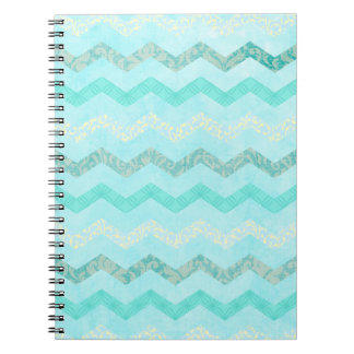 Modern Aqua Blue Chevron Pattern Spiral Notebooks