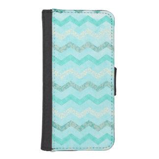 Modern Aqua Blue Chevron Wallet Case iPhone 5 5S