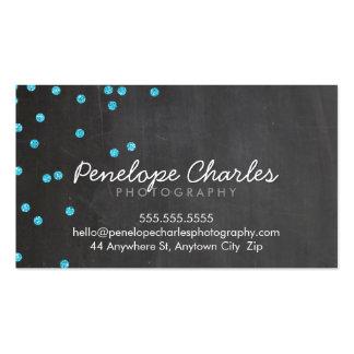 MODERN aqua blue glitter confetti dots chalkboard Pack Of Standard Business Cards