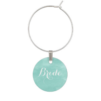 Modern aqua green watercolor bride wine charm