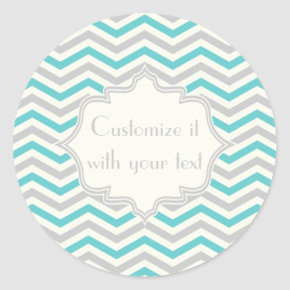 Modern aqua, grey, ivory chevron pattern round sticker