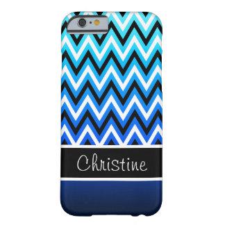 Modern Aqua Navy Blue Ombré Chevron iPhone 6 Case