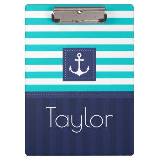 Modern Aqua Navy Stripes Anchor Personalized Clipboard