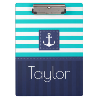 Modern Aqua Navy Stripes Anchor Personalized Clipboards