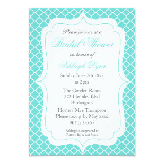 Modern Aqua Quatrefoil Bridal Shower Invitations
