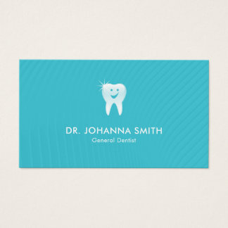 Modern Aqua Shiny Smiling Tooth Dental Appointment Business Card