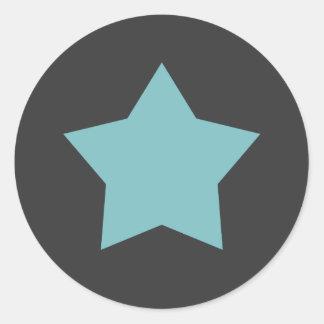 Modern Aqua Star Round Sticker