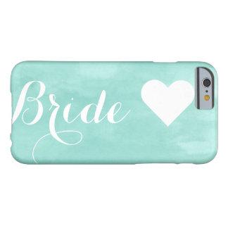 Modern aqua watercolor custom bride monogram barely there iPhone 6 case