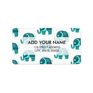 Modern aqua watercolor floral mandala elephant address label