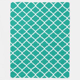 Modern Arcadia Teal Moraccan Quatrefoil Pattern Fleece Blanket
