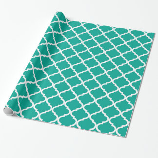 Modern Arcadia Teal Moraccan Quatrefoil Pattern Wrapping Paper