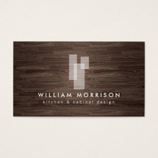 Modern Architectural Logo on Dark Woodgrain