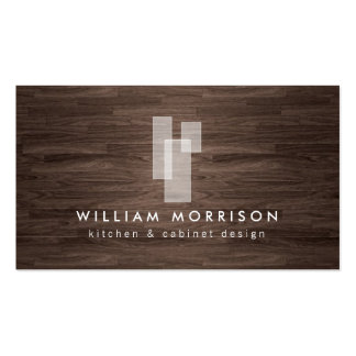 Modern Architectural Logo on Dark Woodgrain Pack Of Standard Business Cards