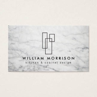 Modern Architectural Logo on White Marble Business Card
