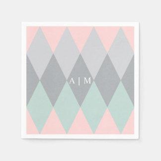 Modern Argyle Monogram Paper Napkin