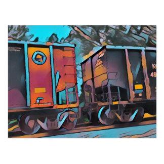 Modern aristocratic connecting Train cars Postcard