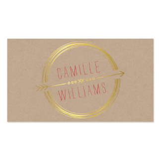 MODERN ARROW LOGO gold foil rustic hand drawn Pack Of Standard Business Cards
