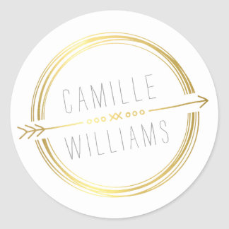 MODERN ARROW LOGO gold foil rustic hand drawn Classic Round Sticker