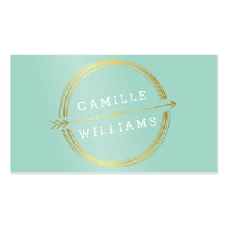 MODERN ARROW LOGO gold foil rustic hand drawn mint Pack Of Standard Business Cards